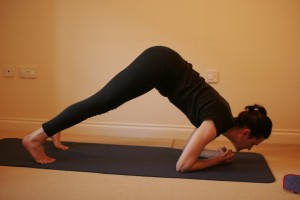 Step 2: move your weight forward, chin over your hands (image from yogamums.org)